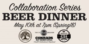 Collaboration Series Beer Dinner May 10th at 7pm