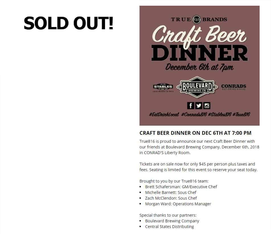 Craft Beer Dinner Sold Out